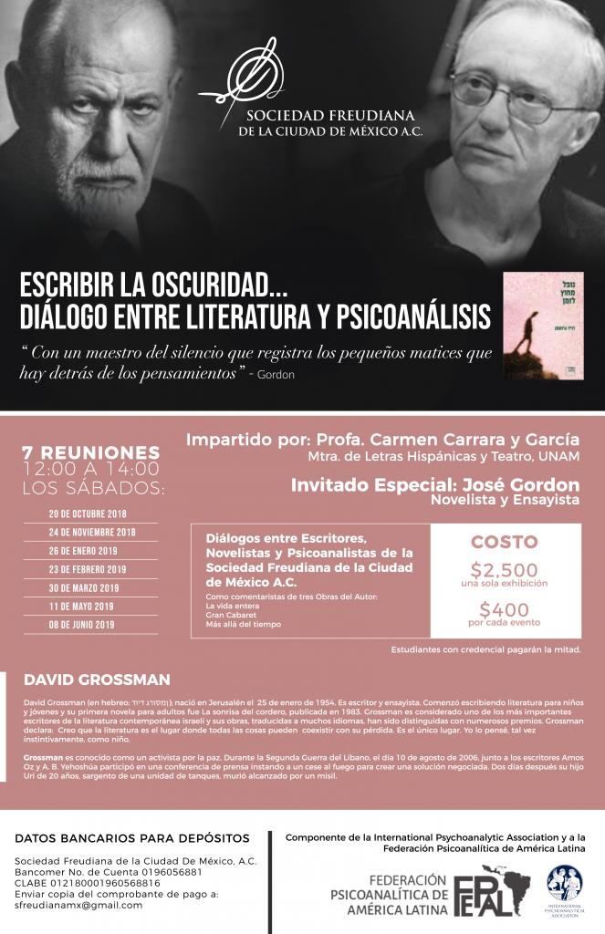 Impartido por: Profa. Carmen Carrara y García, Invitado especial: José Gordón / Diálogos entre Escritores, Novelistas y Psicoanalistas de la SFCM